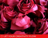 Origami Red Rose Head Loose/Party Favor/paper rose/origami flower/origami rose/table setting/wedding decor/home decor/DIY project/wall decor