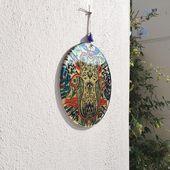 Hamsa Wall Hanging, Glass, Hand of Fatima, Protection Symbol, Hanging Decor