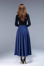 Jupe en laine bleue, jupe taille haute, jupe avec pocekts, jupe plissée, jupe ajustée et évasée, jupe chaude, jupe femme, jupe hiver 1806 #   – Pakaian