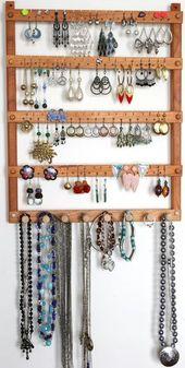 Holz Kirsche Ohrring und Halskette Wand Organizer | Ohrring Halter | Schmuck-Halter | Hält 72 Paar Ohrringe | 8 Stifte | Schmuck Organizer