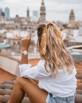 Pretty hair scarf #beauty #style