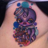 Niedliche Octopus und Anchor Tattoo auf Side Rib, #anchor #cute #Octopus #octopustattoogirly …
