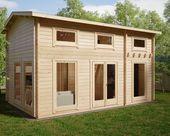 """Holzhaus """"Schweden D"""" mit Schlafzimmer und Schlafloft 30m2 / 6 x 4 m / 70mm"""