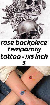 Rose Rücken temporäre Tätowierung – 1 x 3 Zoll 3