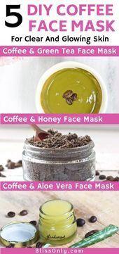 Experimente 5 receitas de máscaras faciais de café DIY para a pele brilhante. …