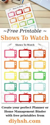 Shows To Watch – Free Printable For Home Management Binder or Planner