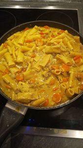 Crema de curry – pasta con carne picada   – Nudeln