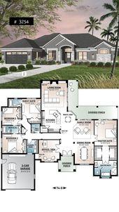 4-Zimmer-Haus, große Master-Suite, Home Office, offener Grundriss, überdachte Terrasse – Boden Ideen