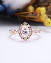 Unique Engagement Ring Rose Gold Women, Vintage Oval Cut Moonstone Ring Halo Diamond, Milgrain Bridal Set Anniversary Jewelry Gift for Women – Braut – und Abendkleider