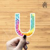 "Letter ""U"" Tie Dye Vinyl Sticker, Best Friend Gift, Laptop Decals, Name Stickers, Monogram, Macbook"