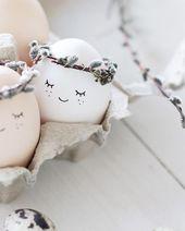 Ob natürlich gefärbt, gesprenkelt, hübsch bemalt oder im Nestli: das sind die… – DIY- und Dekoideen zu Ostern