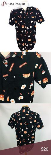 Button Up Shirt Breakfast Print Bacon Eggs Pancake Brand: American Republic   Co…   – My Posh Closet