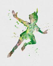 Peter Pan Watercolor Artwork Print