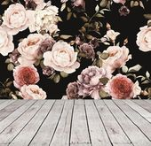 Peel and Stick Floral Wallpaper Mural, Black Floral Wallpaper Large Floral Mural, Dark Floral Wallpaper Nursery Vintage Rose Wallpaper #85