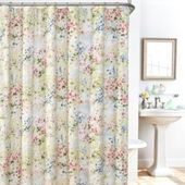 Plisse Giverny 14 Pc Fabric Shower Curtain Liner Hook Set