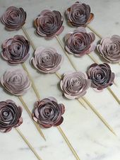 Paper Rosette Flower Cupcake Toppers! (Patterned Pink and Cream) , Paper Flowers, Party Decorations, Roses