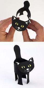 Black cat paper roll craft
