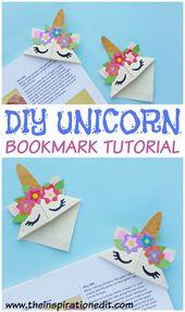 Einfache DIY Einhorn Lesezeichen Craft für Kinder