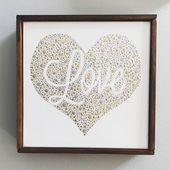 Kundengerechtes Herz gefüllt mit Liebepunktmalerei. Wandkunst. Romantisches einzigartiges Geschenk. Valentinstag. Lo   – Products