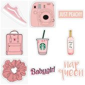 pink peach stickers – stickers