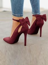 Wine Red Point Toe Cut Out Loop Knöchelriemen Stiletto Pumps Elegante High Heels