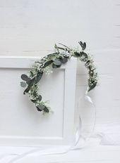 Crown for flower girl Baby crown Eucalyptus floral accessories Wedding flower crown Bridal headpiece Bridesmaid Leaves headband