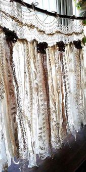 Custom French Shabby Chic Vintage Crochet Lace Burlap Curtain Rustic Romantic ANTIQUE Lace Kitchen