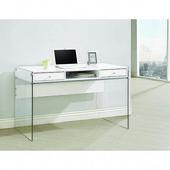 Coaster Furniture 800829 Weißer und transparenter Schreibtisch mit Glasseiten …