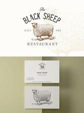 Illustrator Business Card Sheep vintage logo + business card