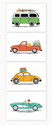 Baby Ilustration Vintage cars art print set, by Lucy Loves Paper. Set of 4 illustrations. Cute fo...
