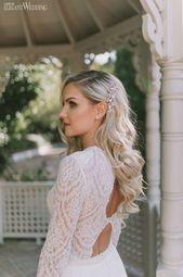 Lange Brautfrisuren, halb oben halb unten Brauthaar   – Hair & Beauty –   #Beaut…