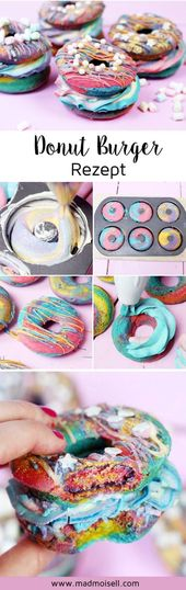 Hornear Rainbow Donut Burger – Receta de fiesta de cumpleaños!   – Einhorn