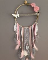 Dream catcher drift wood, white, grey and powder pink color