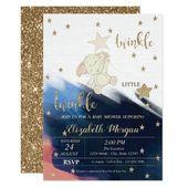 Baby Showers Twinkle Gold Glitter Bear Baby Shower Twinkle Little Star Invitation