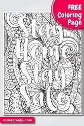 Free Stay Home Stay Safe Word Coloring Page 2 Make Breaks Coloring Pages Fairy Coloring Pages Cute Coloring Pages