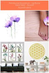 Mohnblumen Kunstdruck  lila Blume Wand Dekor  Aquarell Aquarellmalerei #Dekorati…
