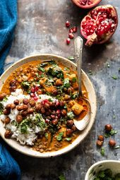 Candy Potato Lentil Curry with Crispy Sesame Chickpeas.