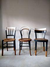 6 Vintage Bistro Vintage Stühle mit neuem Design aus weißem Holz