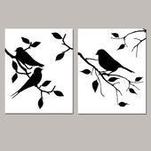 Birds of a Feather Duo – Conjunto de dos impresiones de aves modernas de 8×10 – Cocina, baño, vivero – ELIJA SUS COLORES – Se muestra en blanco y negro   – Scherenschnitte