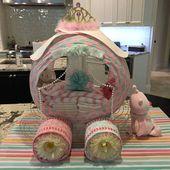 Aschenputtel Prinzessin Wagen Windel Kuchen, Baby-Dusche-Windel-Kuchen, ausgefallene Baby-Dusche-Geschenk   – gute Ideen