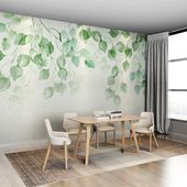 Watercolor Fresh Green Leaves Vine Wallpaper Wall Mural, Hanging Branch Leaf Wall Murals Wallpaper, Wallpaper for Bedroom Living Room