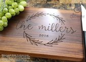 Personalized Olive Wreath Cutting Board – Engraved Custom Wedding, Anniversary, Housewarming, Corporate, Real Estate Gift. 413