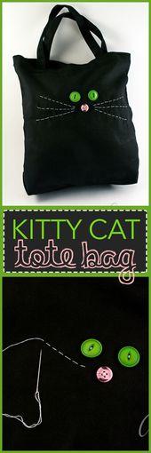 Kinder werden es lieben zu lernen, wie diese süße Kitty-Cat-Einkaufstasche …