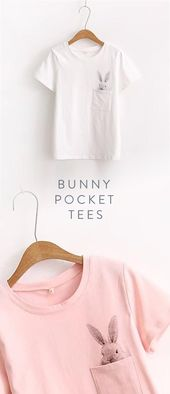 Bunny/Rabbit Pocket Tees – in White or Pink.