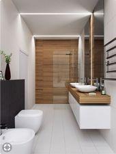 Idée thème bois-carrelage blanc + lavabo – #blan…