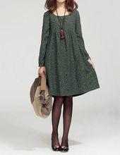 Vestidos de gran tamaño para mujer, vestido de manga larga verde, túnica de color caramelo, vestido largo largo, vestido, vestido de otoño   – *Fashion