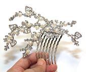 Adamina - Wedding Bridal Vintage Hair Comb, Accessories, Rhinestones, Crystal, Side Tiara Comb, Crystal Leaves, Floral, Vintage, Adamina