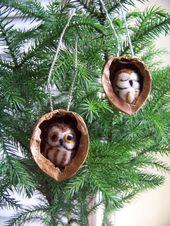Nadel gefilzte Eule in Nussbaum Erbstück Christmas Ornament-Säge Wetzstein Eule
