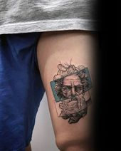 2017 Trend Tattoo Trends – Greek God Coolest Guys Tiny Thigh Tattoo Design Idea … # Tattoos #Tattoosquotes