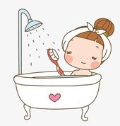 Cartoon woman taking a shower PNG and Clipart